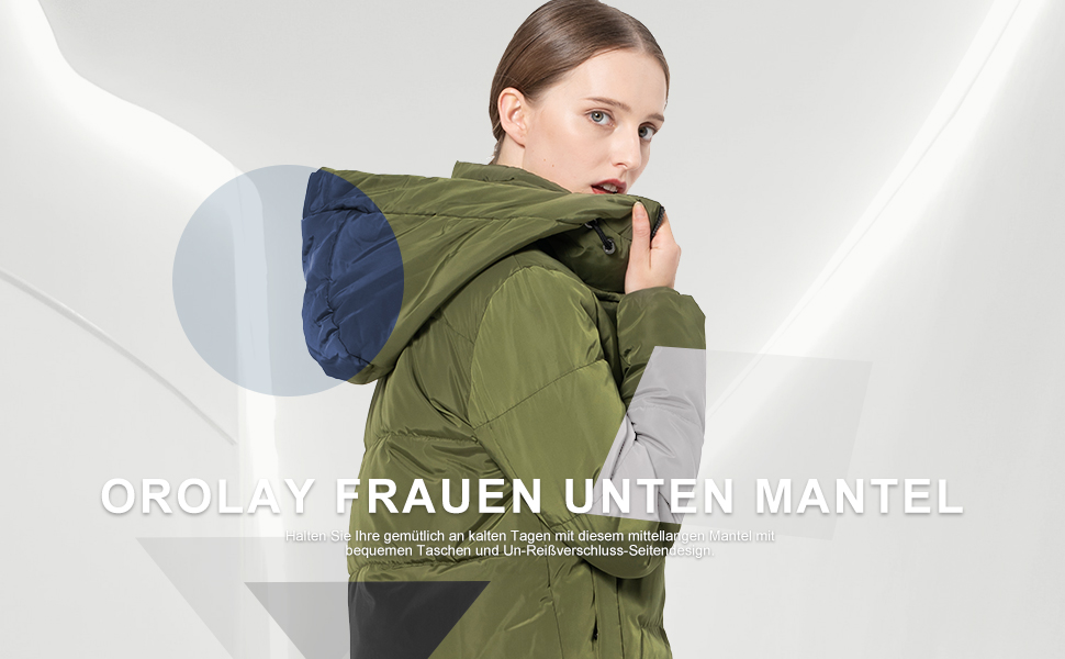 Orolay Damen Daunenmantel Schicke Winterjacke mit Kapuze