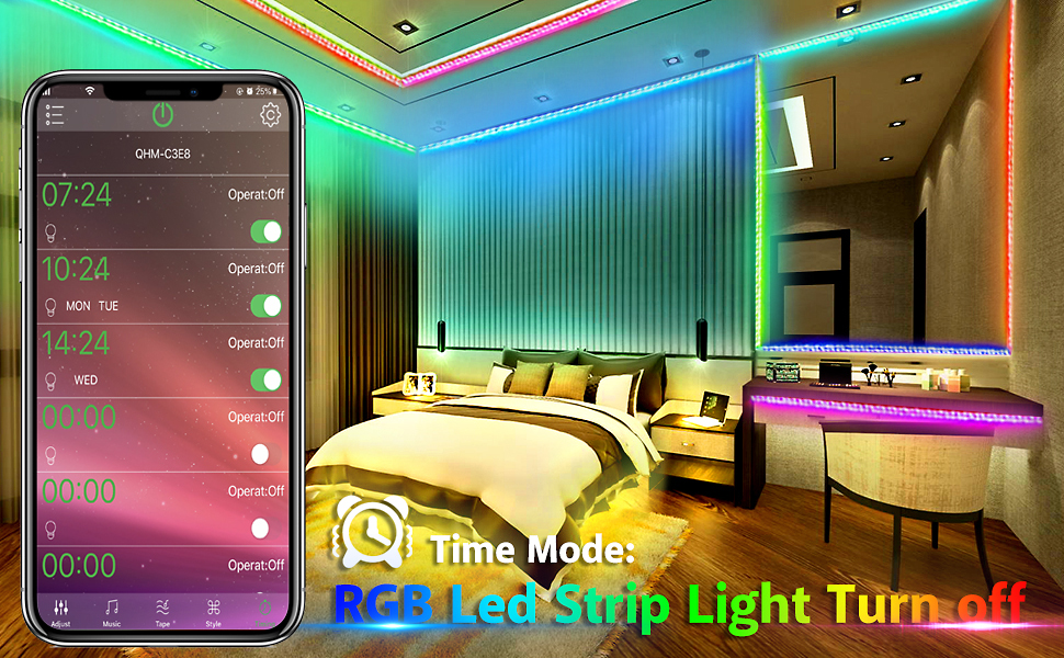 LED Strip Lights Music Sync,Color Changing LED Light Strip 5050 RGB Bluetooth App Control