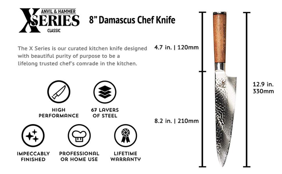 Santoku knife, japanese knife, gift for mom, gift for dad, gift for chef, ANVIL & HAMMER, knives