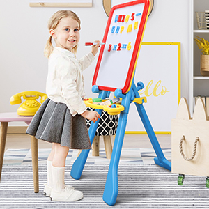 2 - STEAM Life Art Easel For Kids 4 In 1 Magnetic Board, Chalkboard, Painting Easel, And Drawing White Board For Kids Toddler Includes Magnetic Letters And Numbers Easy Storage And Adjustable Height