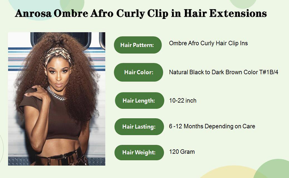 afro clip in hair extensions #1b33
