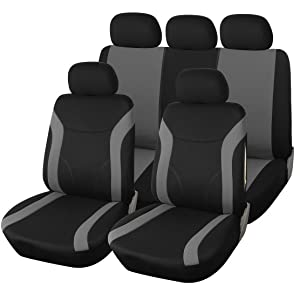 GODGETS Copri-sedili Auto Universale Set Completo//Set Copri-Sedile Universali per Anteriori e Posteriori//Accessori Auto Interno,Nero Beige,2 Seater Anteriore