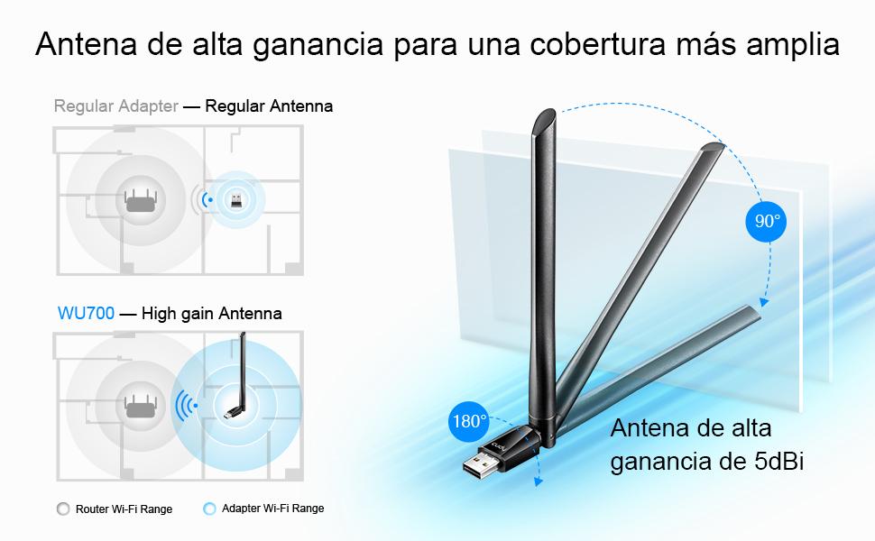 Cudy WU700 AC 650Mbps Adaptador WiFi USB de Banda Dual de Alta Ganancia, Adaptador WiFi de 650 Mbps, Banda Dual de 5 GHz / 2.4 GHz, Antena Externa, ...
