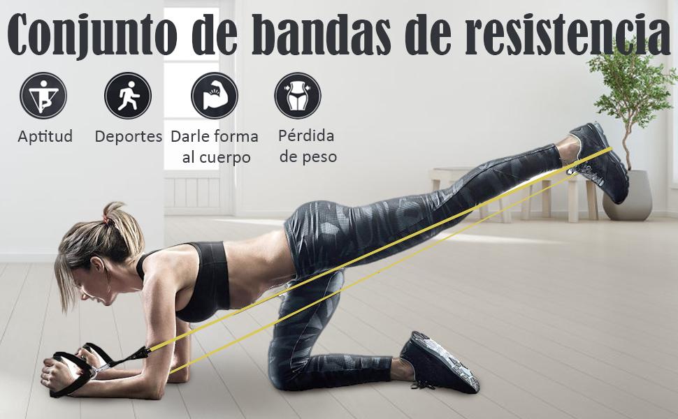 Viedouce Bandas de Resistencia,Bandas de Fitness con Tubos de Látex,Asas, Correas de Tobillo y Anclaje para Puerta, Elásticas Bandas Ideal para ...