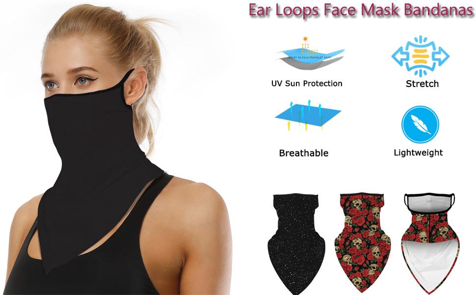 Women men Face Mask Reusable Washable Cloth Bandanas Women Men Neck Gaiter Cover scarf Ear Loops