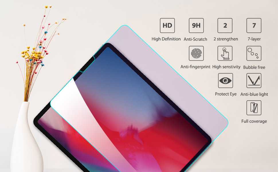 additional performance for iPad pro 12.9 2018 hd clear glass screen protector