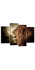 4 Panel Wall Art Painting for Living Room Roaring Lion Canvas Print Wall Art Animal Wall