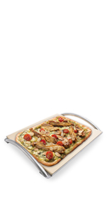 "14"" x 16"" Pizza Stone with Handle Rack"