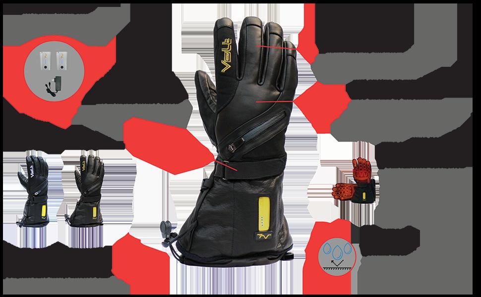 Volt Heated Clothing, heated gloves, titan heated gloves, leather heated gloves, moto heated gloves