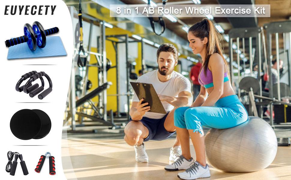 Euyecety AB Roller Set - Rueda Abdominal + Esterilla Deporte + 2 Soportes para Flexiones + Fortalecedores de Mano + Cuerda para Saltar, para Fitness ...