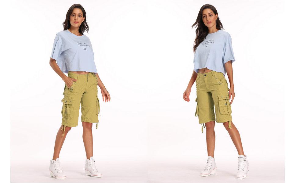 womens khaki cargo shorts, shorts for women, cotton shorts for women
