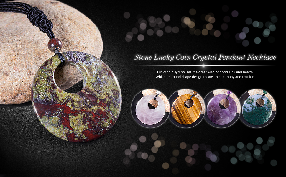 Crystal Stone Lucky Coin Crystal Pendant Necklace