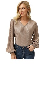 women's metallic shiny blouse