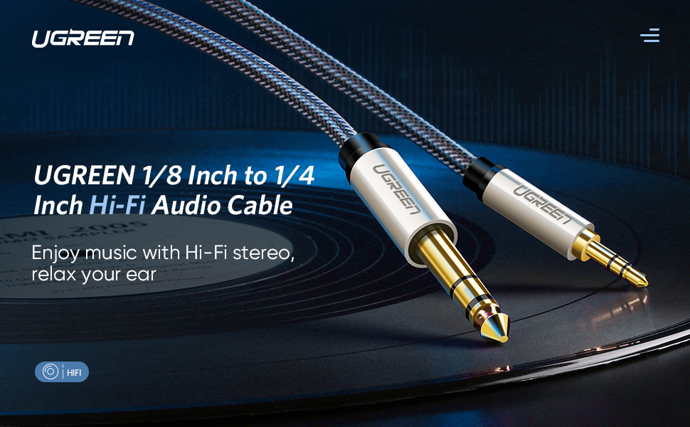 """UGREEN 6.35Mm 1/4"""" Male To 3.5Mm 1/8"""" Male Trs Stereo Audio Cable"""