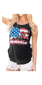 USA Flag Printed Tank Tops