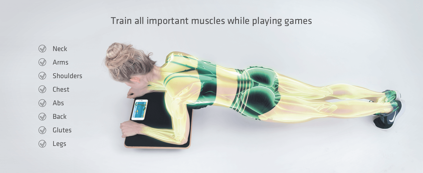 Train all important muscles - Neck Arms Shoulders Chest Abs Back Glutes Legs - while playing games