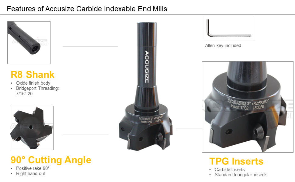 3//4/'/' /& Indexable End Mill 3 Pcs Tpg32 Carbide Inserts 2/'/' Cutting Diameter