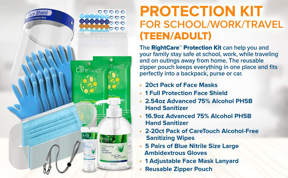 face shield gloves masks lanyard hand sanitizer stickers zipper bag