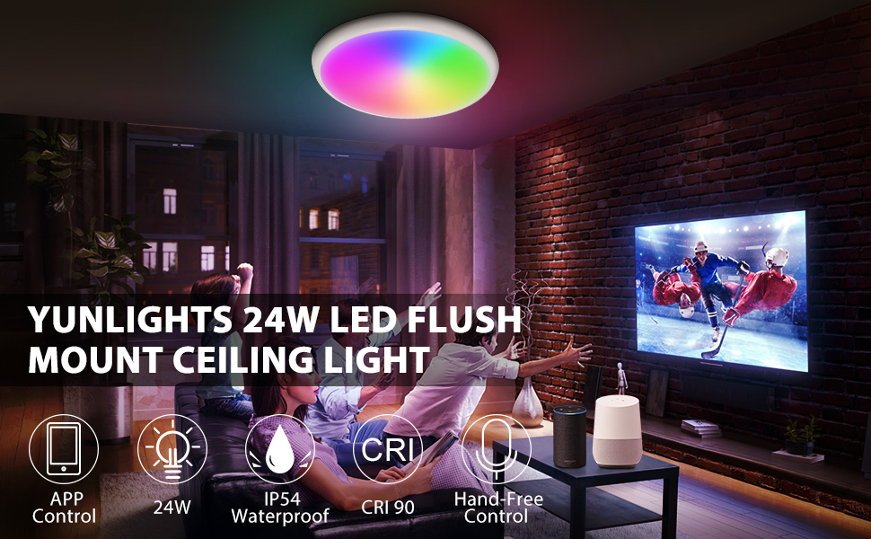 "1  YUNLIGHTS Smart Ceiling Light – Smart Ceiling Light Flush Mount Compatible with Alexa & Google Home, Smart Ceiling Light Flush Mount Wifi with App Control RGB Dimming IP65 Waterproof Timer, 24W & 12"" 78b037fc a9d0 4996 986a 01ba0311a990"