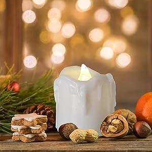PChero LED Flameless Flickeing Timer Votive Candles for Home Table Bedroom Bathroom Garden Decor