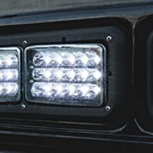 """4pc 45W 6""""x4"""" LED Headlight with Black Housing on Black Bus close up of High Beam."""
