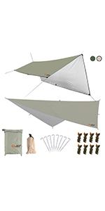 防水タープ 天幕 シェード テント タープ 紫外線カット 遮熱 軽量 サンシェルター キャンプ 収納ケース付 2-6人用 3m/4m/5m 2色