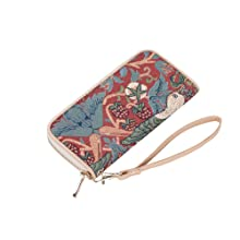 signare, tapestry, long zip purse, fabric purse, red purse, william morris, strawberry thief red