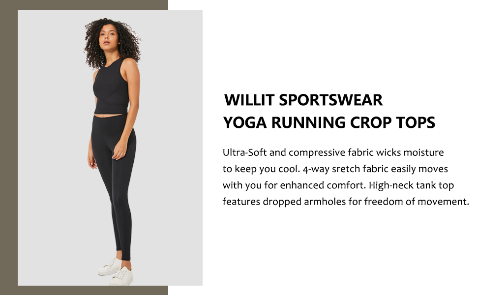 Willit Womens Yoga Workout Crop Tops Stretch Tank Compression Athletic Running Shirts High Neck