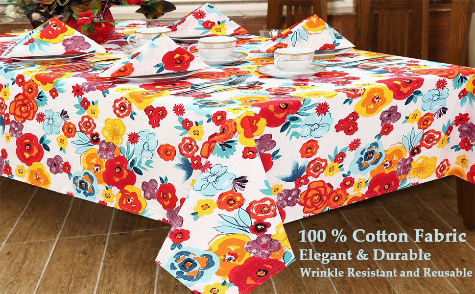 Amazon Com Ruvanti Table Cloth 60x70 4 6 Seats Wrinkle Free 100 Cotton Rectangle Tablecloth Washable Reusable Multi Color Flowers Table Cloths Table Cover For Christmas Thanks Giving Dinners Kitchen Dining