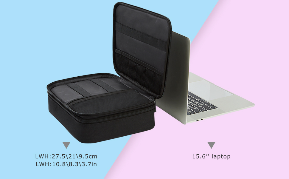 Large Travel Case Electronics Accessories Bag, Cable Organizer Double Layer for 10.5 Tablet