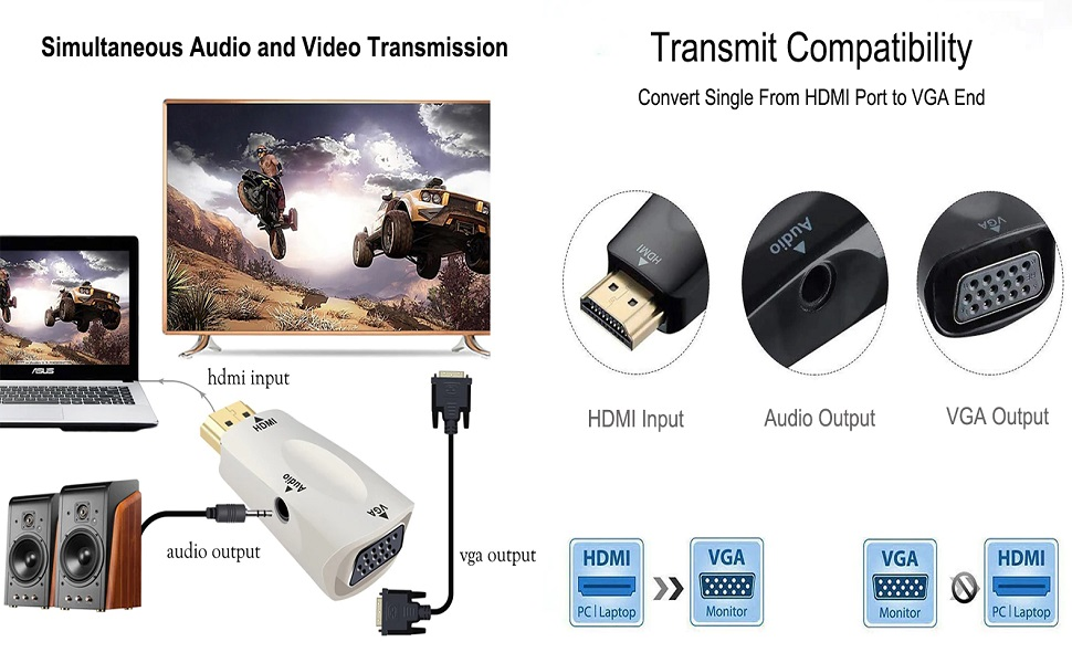 hdmi to vga converter adapter with audio