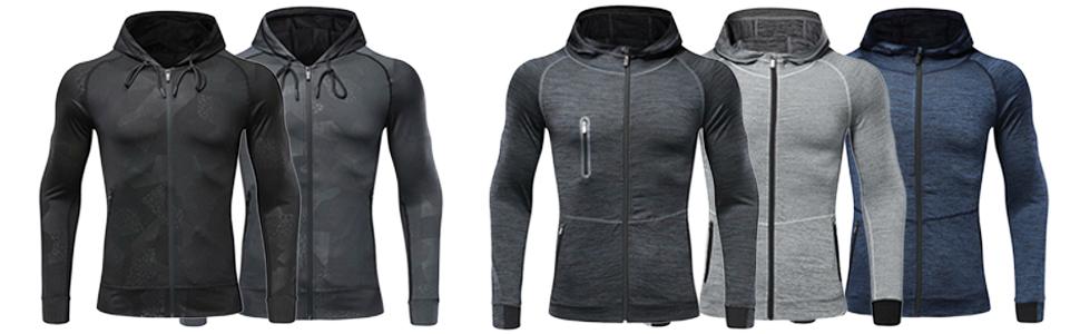 mens hoodies zip up running jacket
