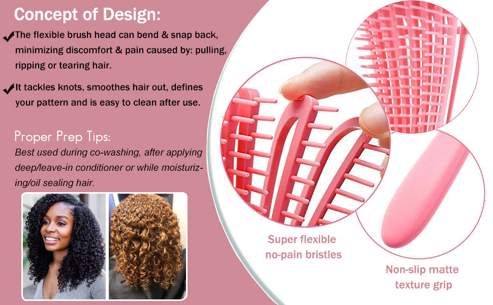 curly hair brush detangle brush for wavy coily thick long corase hair
