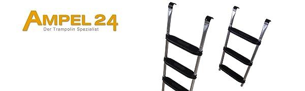 Ampel 24 - Escalera para Camas elásticas Grandes | ca 110 cm | 3 escalones Anchas | facilita la montada en el trampolín | Plata