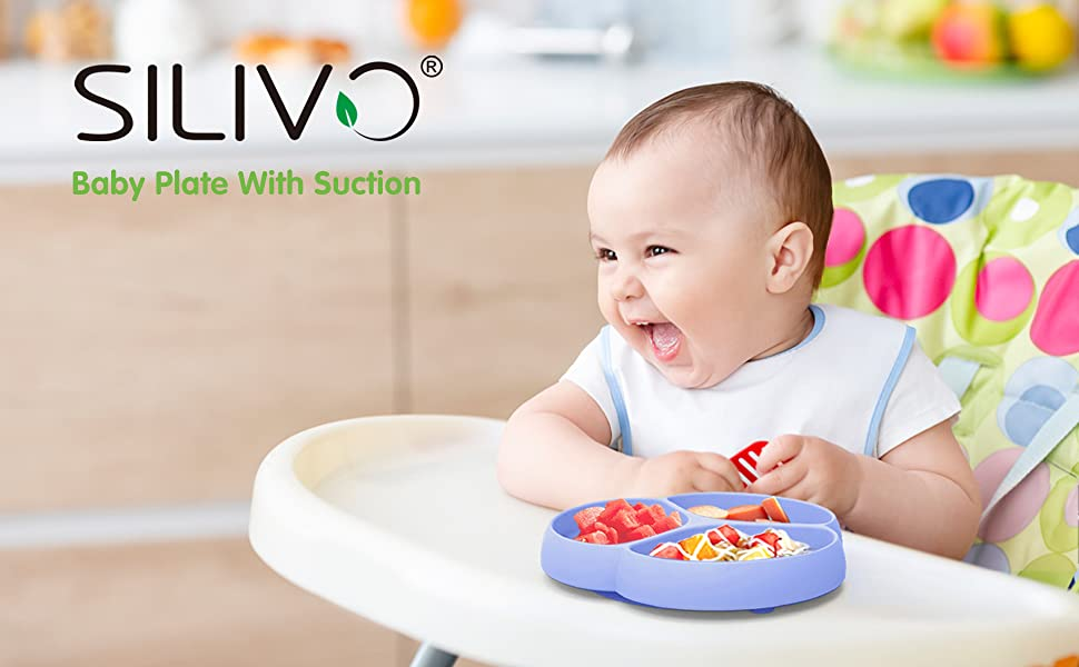 Baby Suction Plates SILIVO Silicone Non-Slip Baby Placemat with Suction Cups fo
