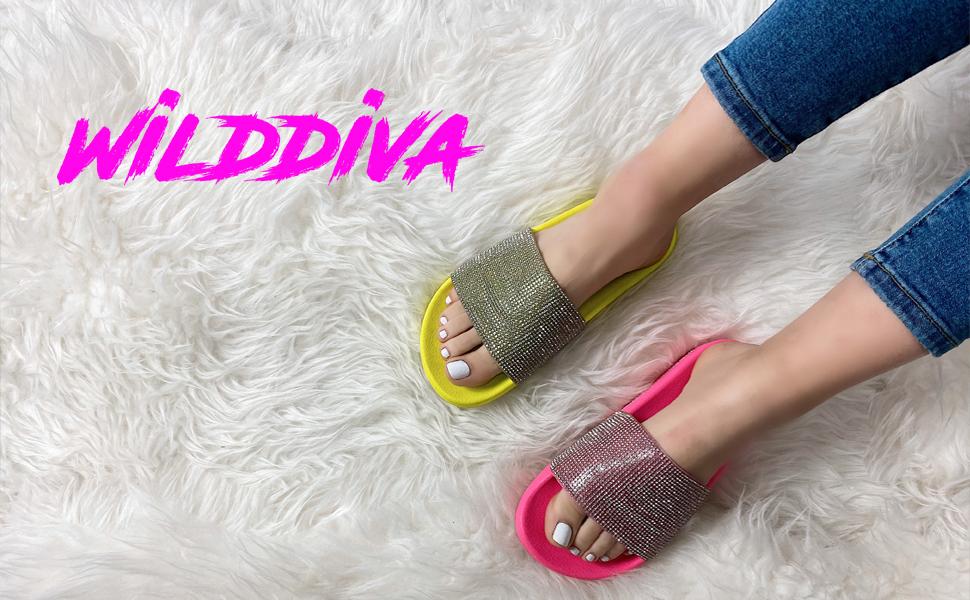 Slides Rhinestone Glitter Sandals