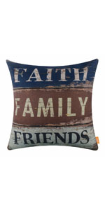 LINKWELL 18x18 inches Vintage Words Faith Family Friends Pillow Cover