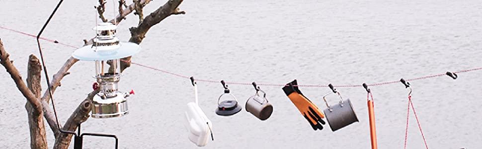 5m con Tensores de Cuerda Clips de Carpa Mosquetones para Tienda de Campa/ña Monta/ña Refugio Toldo Senderismo Azarxis Cuerdas Reflectantes 5mm