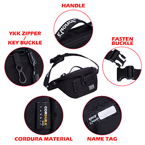 black tactical waist fanny pack for hiking with ykk zipper portable handle adjustable waist strap
