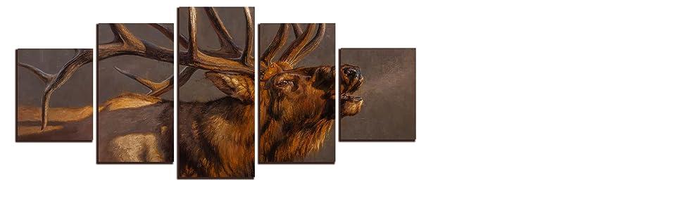 elk 5 piece canvas panels