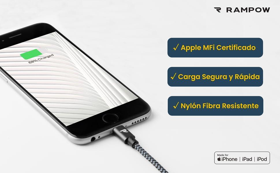 Rampow Cable Lightning 1M Cable iPhone Cargador iPhone [Apple MFi Certificado] Compatible con iPhone XS MAX XR X 8 Plus 7 Plus 6S 6 Plus 5 5S 5C SE y ...