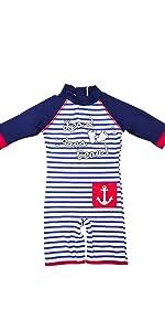 Baby boy sunsuit swimsuit stripe black