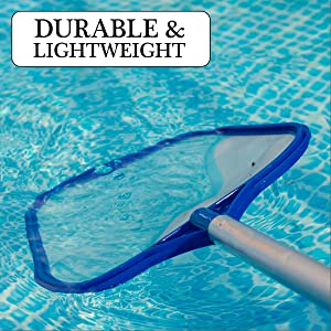 The high quality plastic frame and fine-mesh net allows the pool skimmer to glide through the water