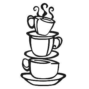 Interior Decoration, hot coffee shop, Set of 3 Metal Coffee Cups, coffee shop sign, wall art, mugs