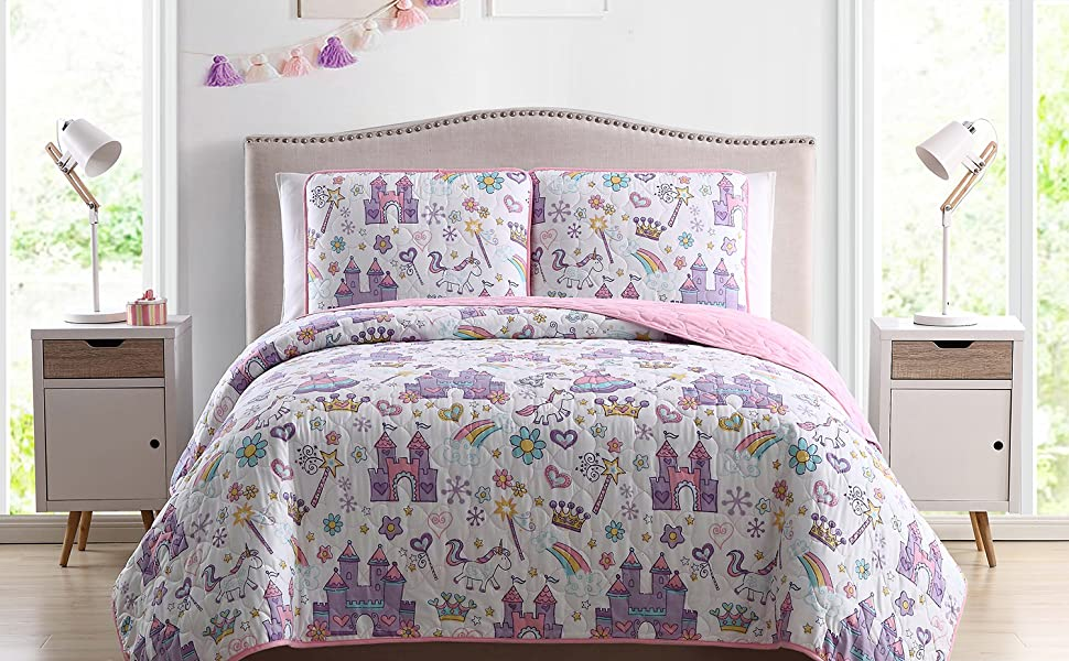 Kute Kids Children S Quilt Set Multiple Styles For Boy S And Girl S Beds With Fun Designs And Colors To Match With Sheet Sets Unicorn Twin Kitchen Dining