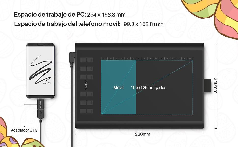 HUION Inspiroy H1060P 2019 Actualización de Dibujo de la Tableta gráfica Función de inclinación ± 60 ° Stylus sin batería con 8192 Presión 12 Teclas Personalizadas para Windows, Mac y Android: Amazon.es: Electrónica