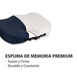 MonTrüe Cojín ortopédico coxis de Espuma con Memoria para Asiento, diseñado para aliviar la Espalda, Oficina, Asiento de Coche y Viajar,Azul