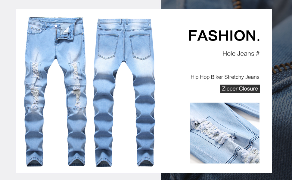 ripped jeans for men blue biker slim fit distressed stretchy hip hop destroyed straight rip patched
