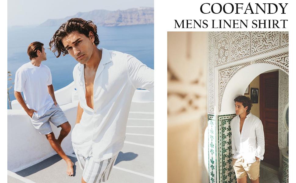 Men's Slim Fit Henley Neck Cotton Linen Shirts Casual Long Sleeve Basic Shirts