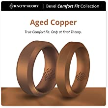 Copper bevel comfort fit silicone ring